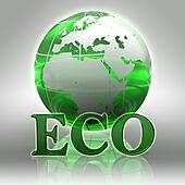 eco green word and earth globe