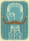 Man and mustaches.Retro image on old paper