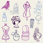 Set of Fashion Hand drawn Doodles - for your design and scrapbook in vector