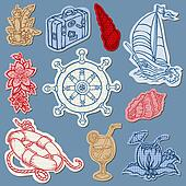 Nautical doodles on Torn Paper- Hand drawn collection in vector