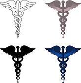 Caduceus symbols isolated on white background. Blue, grey, white and black colors.