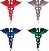Color caduceus symbols isolated on white background. Red, blue, grey and green.