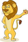 Friendly lion waving hand