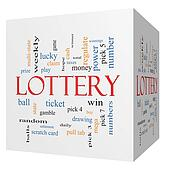 Lottery 3D cube Word Cloud Concept