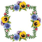 Flower Frame, Pansies and Roses