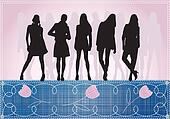 girls silhouette on jeans background