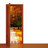 unclosed door and beautiful autumn landscape