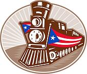 Steam Train Locomotive With American Flag