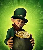 Leprechan Holding a Pot of Gold