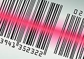 Barcode with red laser beam