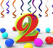 Number Two Party Shows Birthday Celebration Or Party