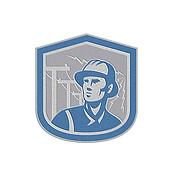 Metallic Power Lineman Repairman Shield Retro