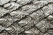 Metal stamping, silver temple fragment. Chiang Mai, Thailand