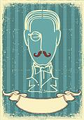 Man face and mustache.Retro image on old paper