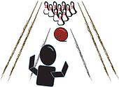 Stick Person with Bowling Ball/ Pin