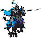 Jousting Blue Knight Mascot on Hors