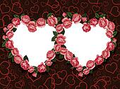 rose flowers two hearts frame pattern