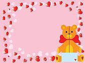 vector valentine`s teddy bear on pink
