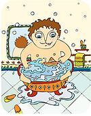 little boy bathes in a bathroom