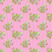 Seamless Floral on Pink Stripes