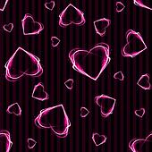 Seamless Glowing Hearts on Stripes