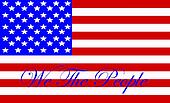 An Illustration of the American flag with the preamble to the U.S. Constitution We The People superimposed over it