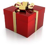 red gift parcel with golden ribbon