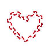 Footprint Red Track Heart