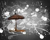 Simple scene with straw umbrella