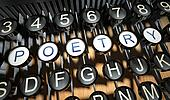 Typewriter with Poetry buttons, vintage