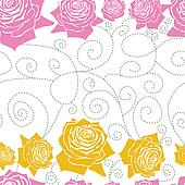 seamless white pattern line roses