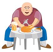 Fat man at a crowded table