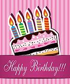 vector birthday card with chocolate cake