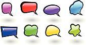 the vector color shiny speech bubbles set