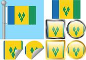 Flag Set Saint Vincent and The Grenadines