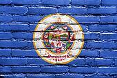 Minnesota State Flag painted on brick wall