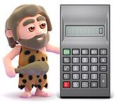 3d Caveman finds a calculator