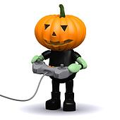 3d Pumpkin head monster plays a videogame
