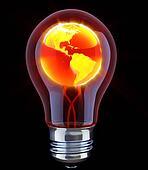 Shining globe inside light bulb