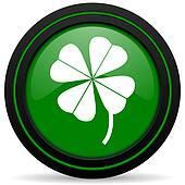 four-leaf clover green icon