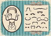 Man portrait and mustaches.Retro background on old paper