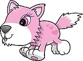 Pink Girl Wolf Puppy Dog Vector