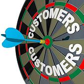 Dart in Bulls-Eye Target Customers Word  on Dartboard