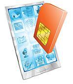 Phone SIM card icon concept