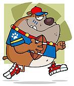Football Brown Bulldog Running