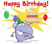 Elephant Walking With Birthday Cake