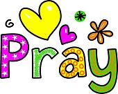 Pray Cartoon Text Clipart