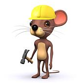 3d Cute mouse is in the construction industry