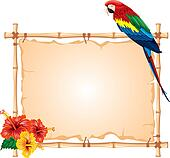 Parrot and bamboo frame