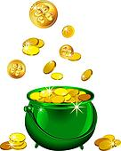 Green Pot Of Gold Clipart green pot with gold coins